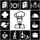 Set of Restaurant Icons in White on Black - GraphicRiver Item for Sale