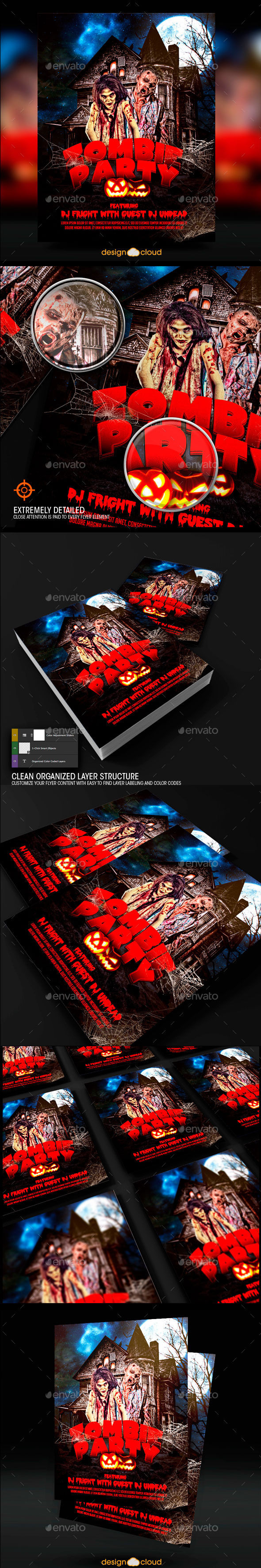 GraphicRiver Zombie Halloween Party Flyer Template 8791237