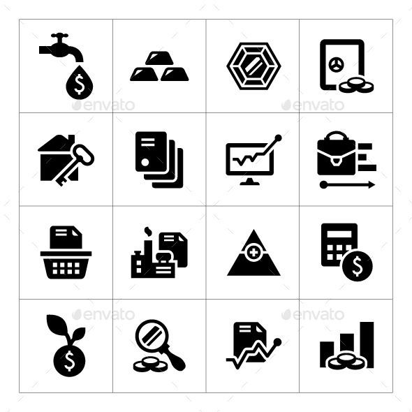 GraphicRiver Set Icons of Investment and Finance 8791327