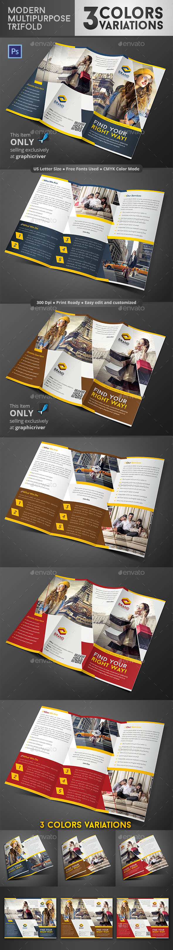 GraphicRiver Modern Multipurpose Trifold 3 Colour Variations 8792702