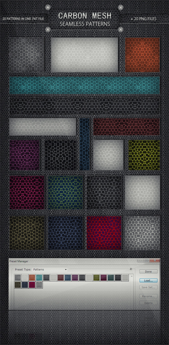 20 Carbon Mesh Seamless Patterns