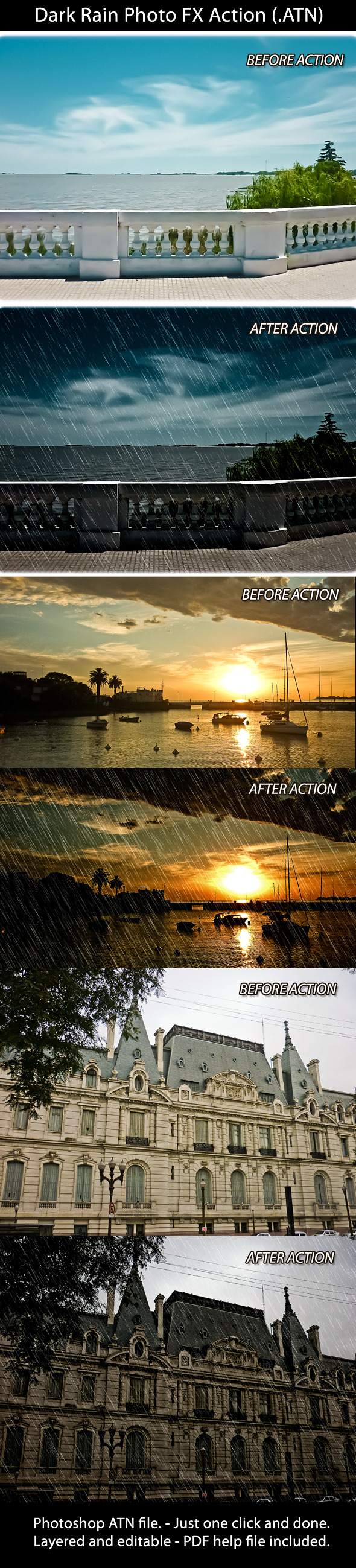 Dark Rain Photo FX Action - Photo Effects Actions