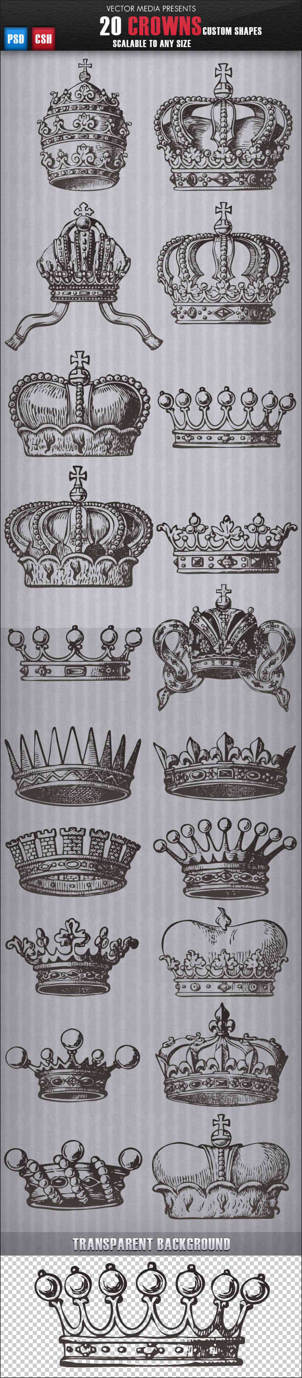20 Crowns - Custom Shapes - Objects Shapes
