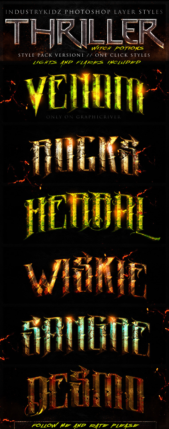 Thriller Witch Potions Layer Styles - Text Effects Styles