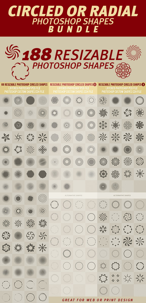 Circled or Radial Photoshop Shapes Bundle - Symbols Shapes