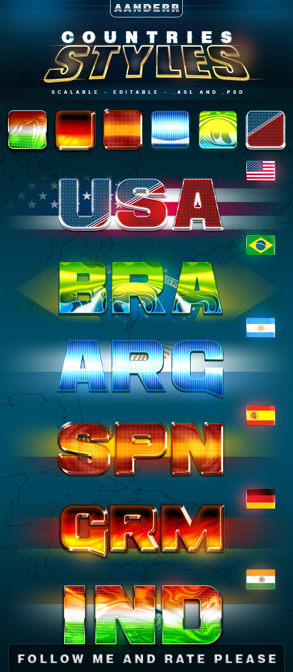 Countries Styles - Text Effects Styles