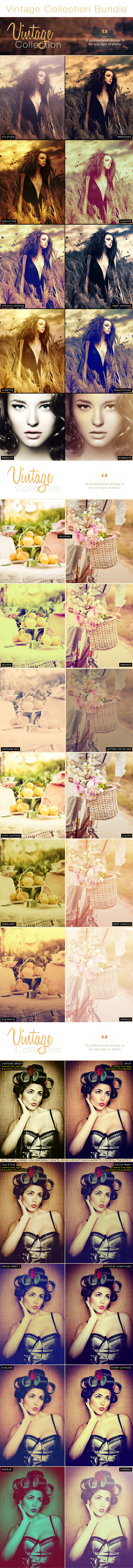 30 Vintage Pro Collection Photo Effects | Bundle - Photo Effects Actions