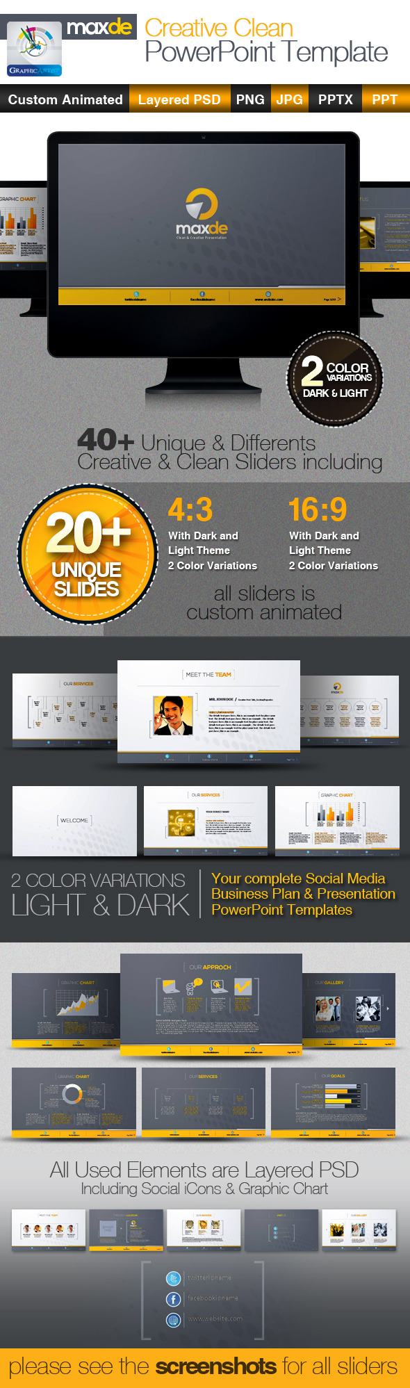 MaxDe Creative Clean PowerPoint Templates - Business Powerpoint Templates