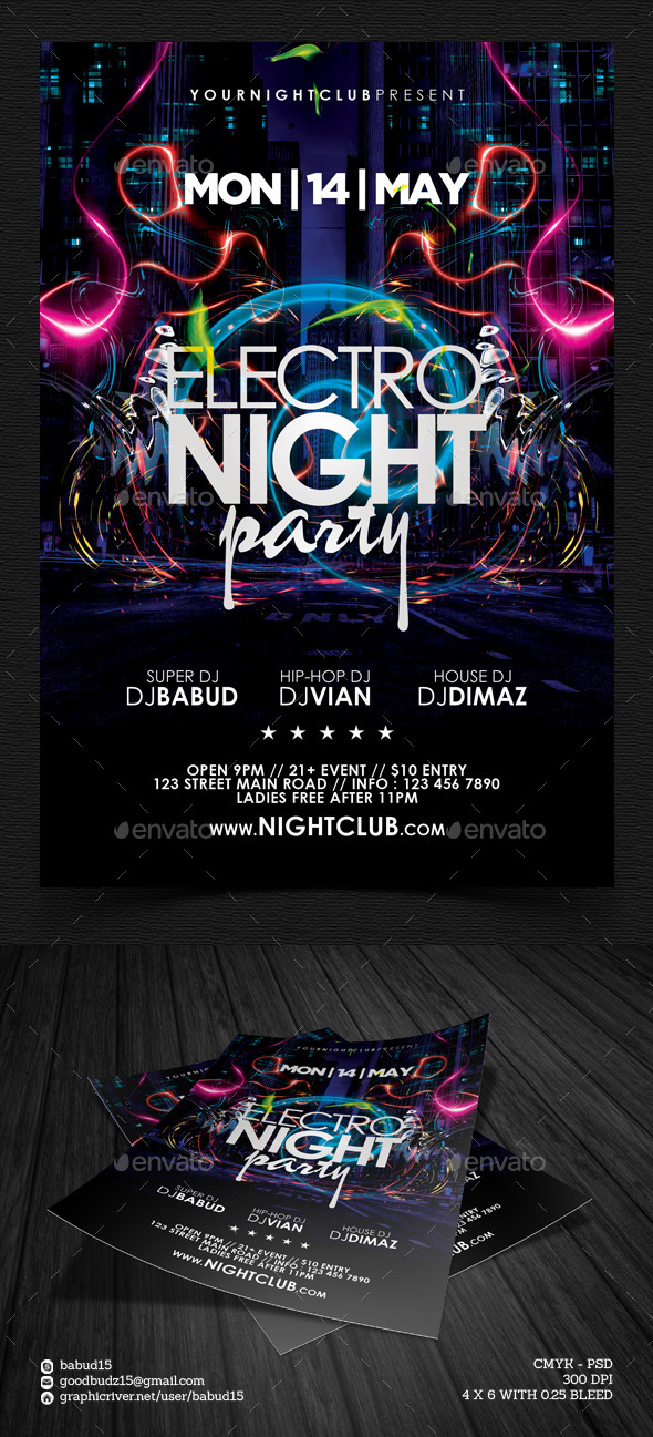 GraphicRiver Electro Night Party Flyer Template 8793097