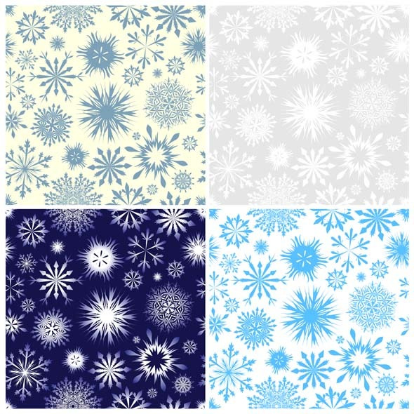 Snowflake Seamless Pattern Set