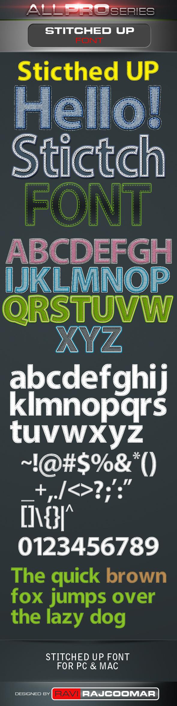 Stitched UP Font - Sans-Serif Fonts