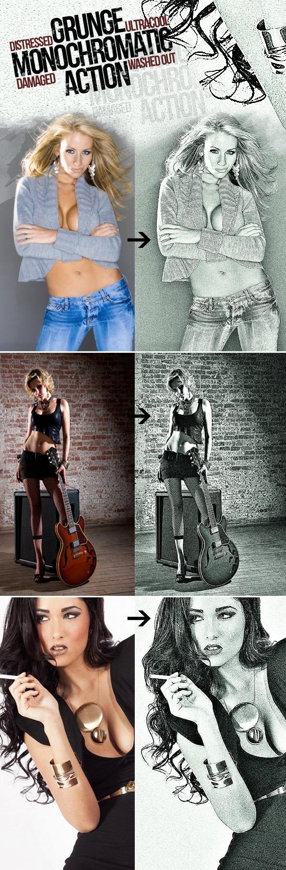 "Photoshop Action ""Grunge Monochromatic"" - Photoshop Add-ons"