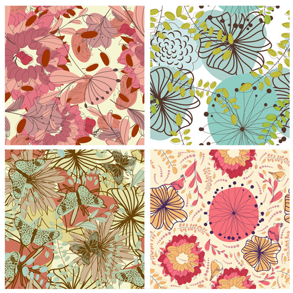 Floral Seamless Pattern Set