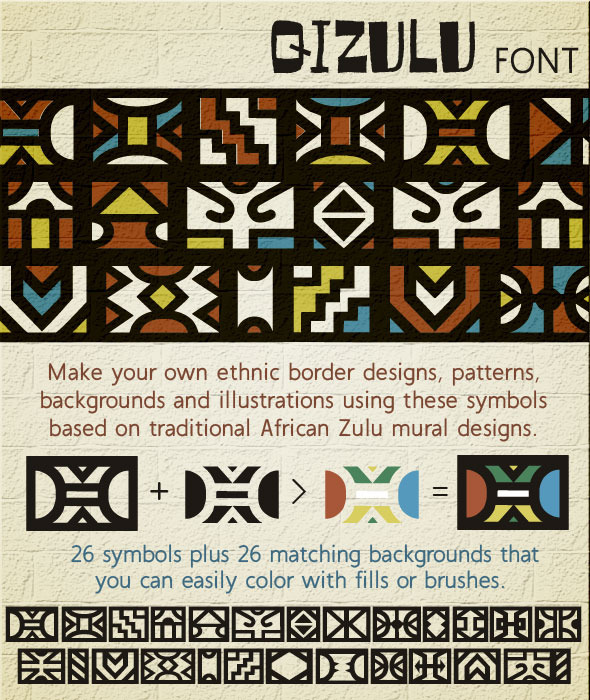 Qizulu Africa Zulu Ethnic Symbols Font