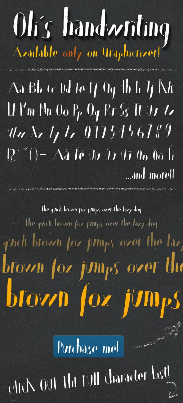 Oli's Handwriting TrueType font - Hand-writing Script