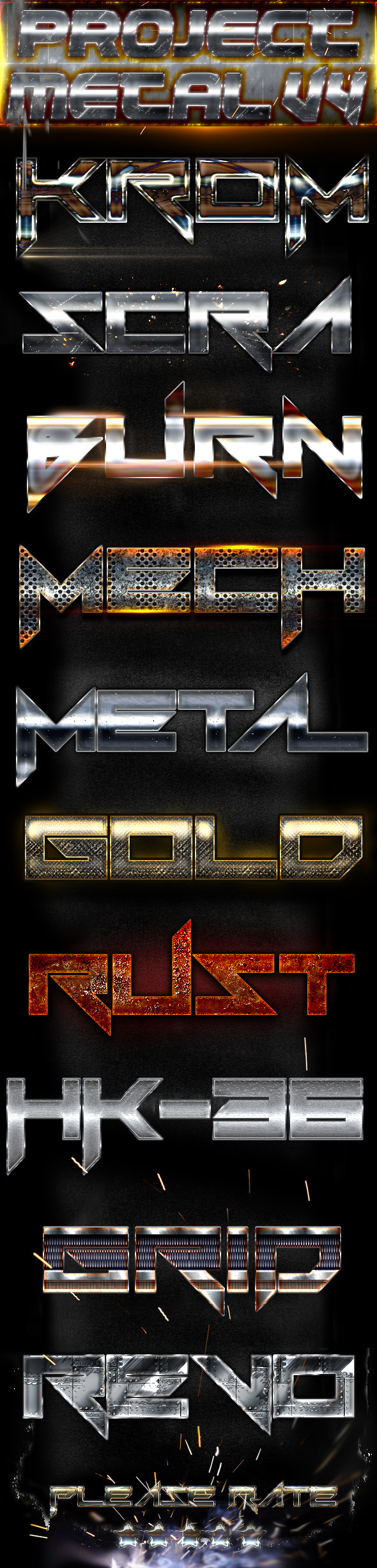 Project Metal V4 Photoshop Text Styles
