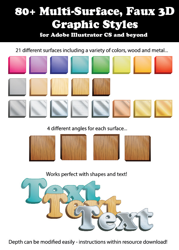 80+ Multi-Surface, Faux 3D Graphic Styles - Styles Illustrator