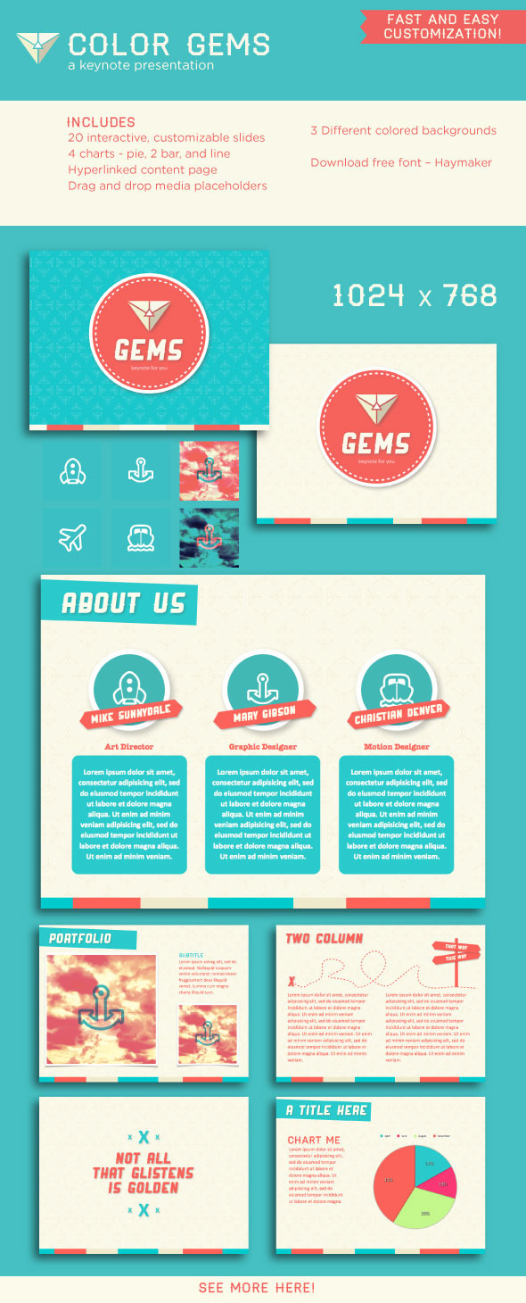 Color Gems Keynote Presentation - Creative Keynote Templates