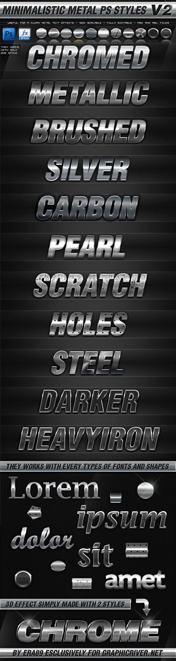 Minimalistic Metal Styles V2 - Text Effects Styles