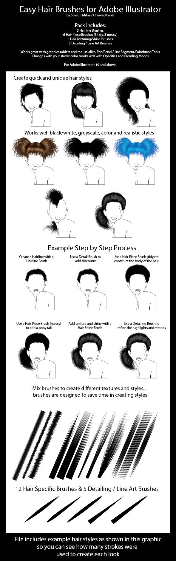 Easy Hair Brushes for Adobe Illustrator - Miscellaneous Brushes