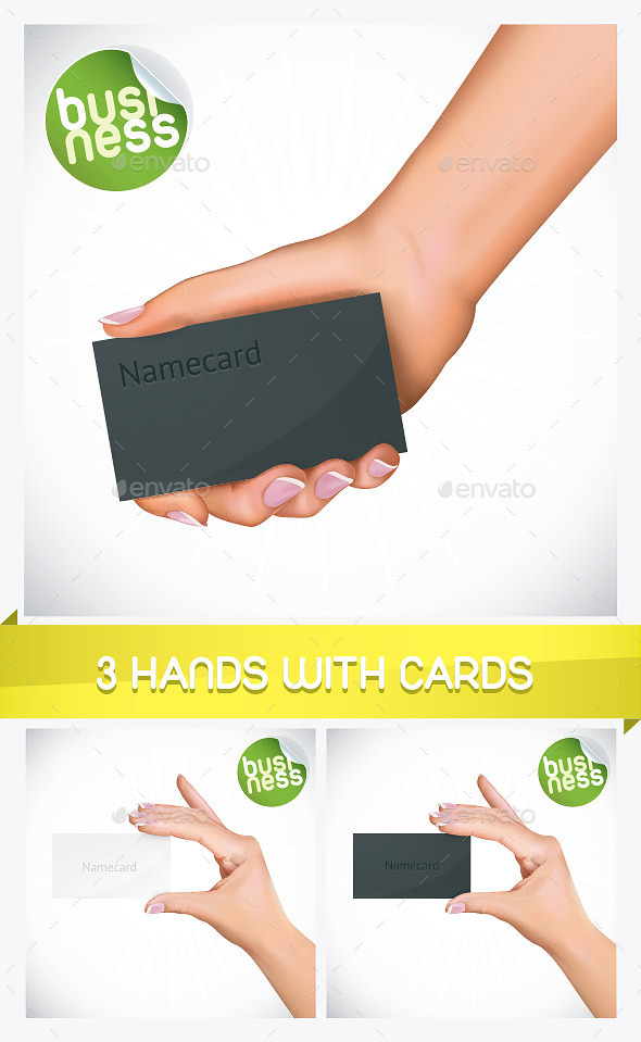 GraphicRiver 3 Hand Holding Name Card Illustrations 8793514