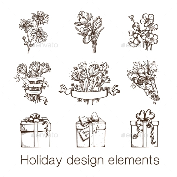 GraphicRiver Presents and Flowers Sketch Collection 8793534