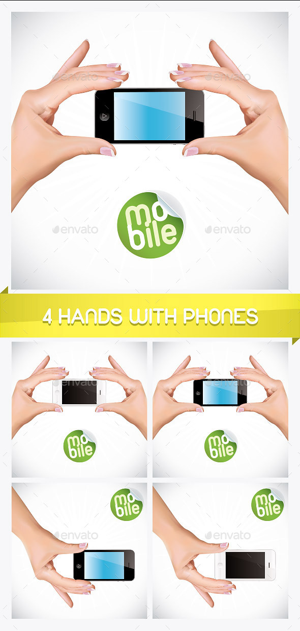 GraphicRiver 4 Hand Holding Mobile Phone Illustrations 8793553