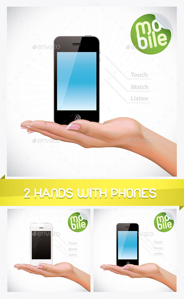 GraphicRiver 2 Hand Holding Mobile Phone Illustrations 8793565