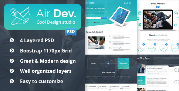 ThemeForest Air Dev One Page PSD Template 8793567