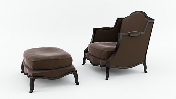 Classic Armchair and Footstool - 3DOcean Item for Sale