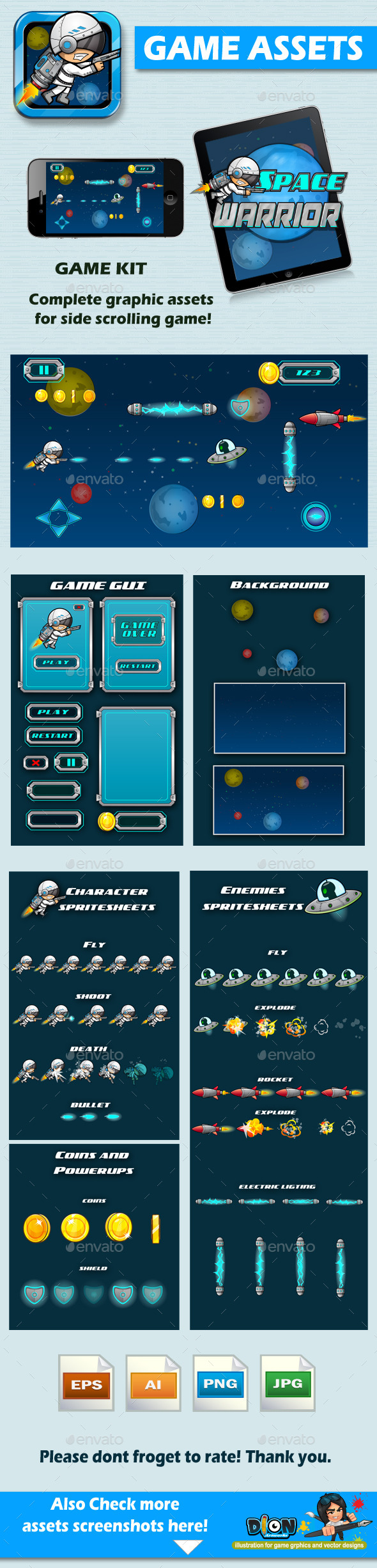 GraphicRiver Game Assets Space Warrior 8793874