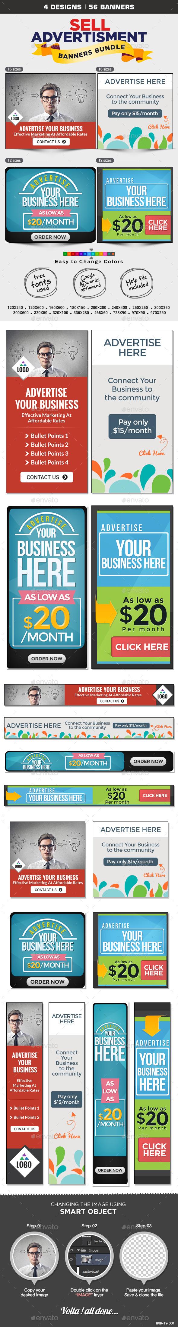 GraphicRiver Sell Your Ads Banner Design Bundle 4 Sets 8794071