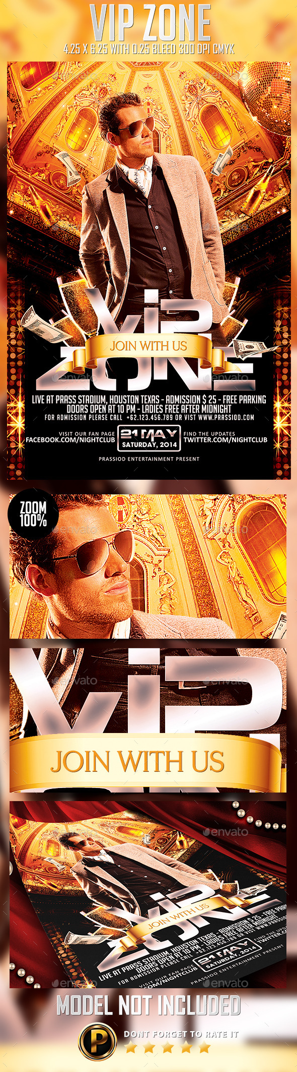 Vip Zone Flyer Template - Clubs & Parties Events