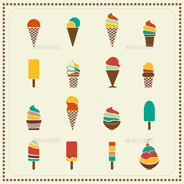 GraphicRiver Vintage Retro Ice Cream Icons 8794457