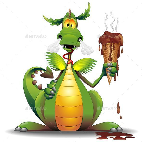 GraphicRiver Dragon Cartoon with Melted Ice Cream 8794684