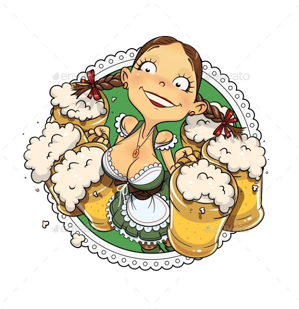 GraphicRiver Oktoberfest Girl with Glass of Beer 8794699