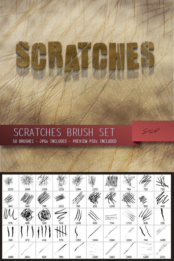 50 Scratches Brush Set - Grunge Brushes