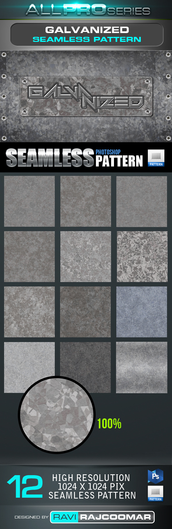 Galvanized Seamless-Tileable Pattern - Textures / Fills / Patterns Photoshop