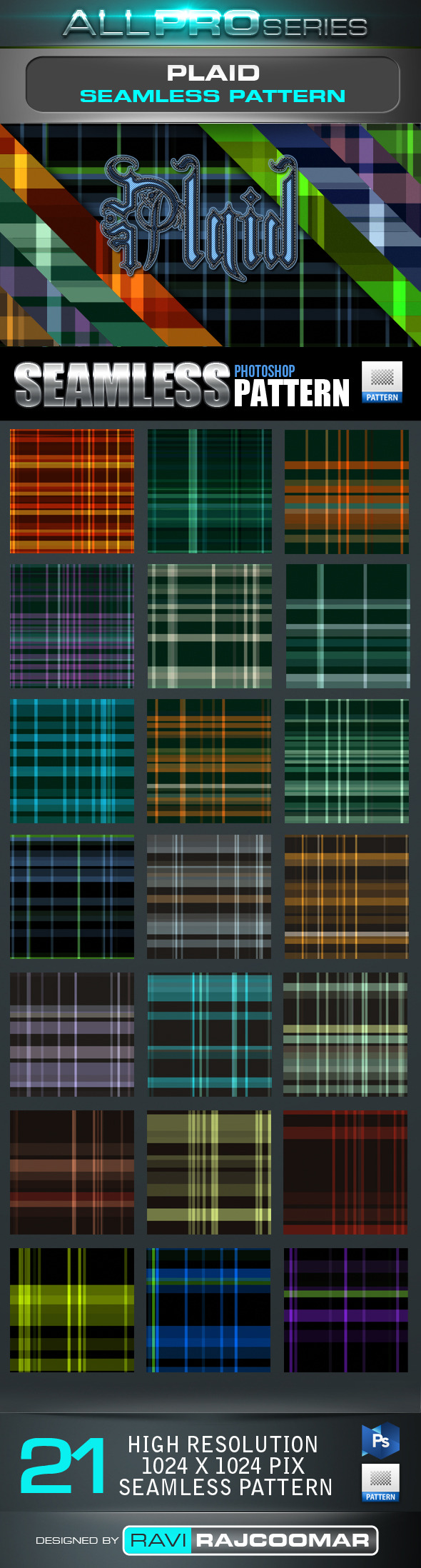 Plaid Tartan Seamless Tileable Pattern - Textures / Fills / Patterns Photoshop