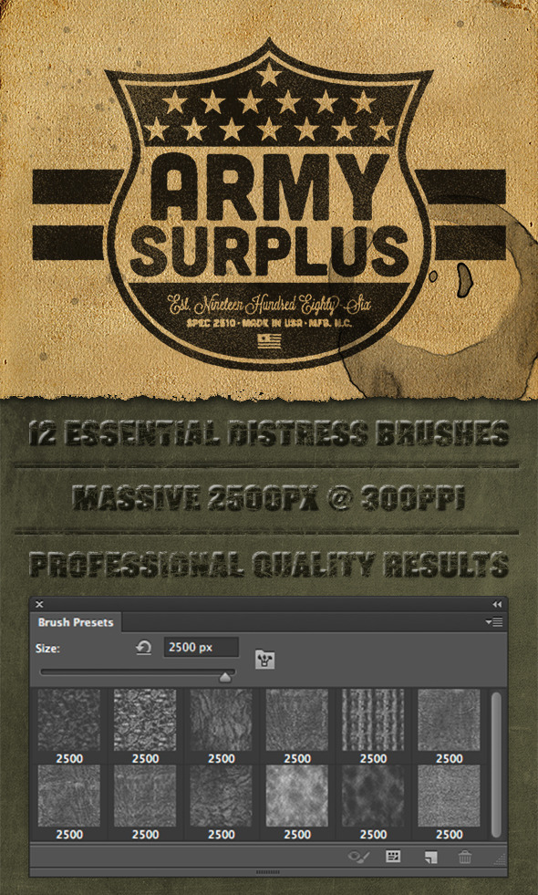12 Photoshop Lite Distress Texture Brushes