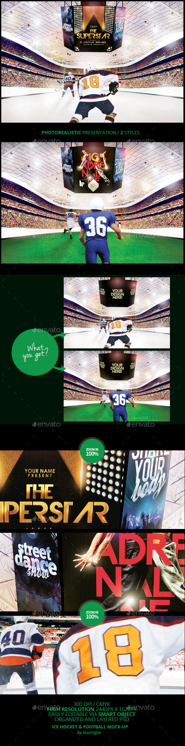GraphicRiver Ice Hockey & Football Mock-Up Template 8782397