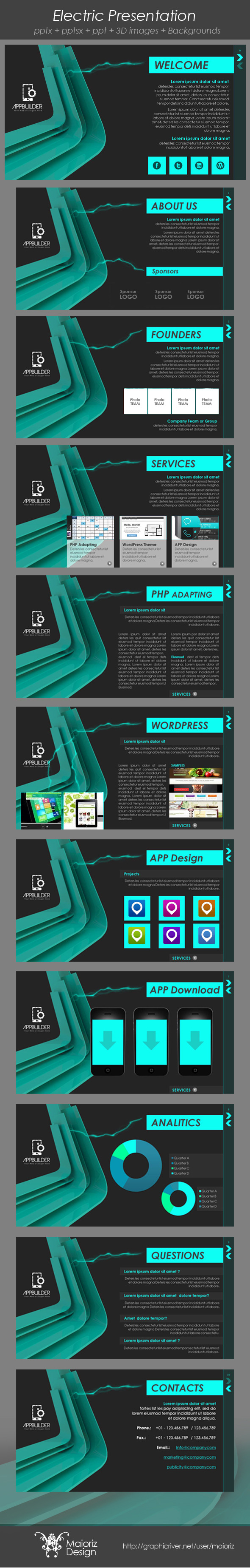Electric Presentation  - Abstract PowerPoint Templates