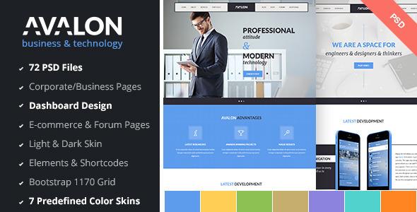 ThemeForest Avalon Business & Technology PSD Template 8794924