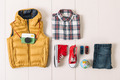 Overhead of essentials hipster boy.  - PhotoDune Item for Sale