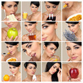 Composition of beautiful brunette portraits - PhotoDune Item for Sale