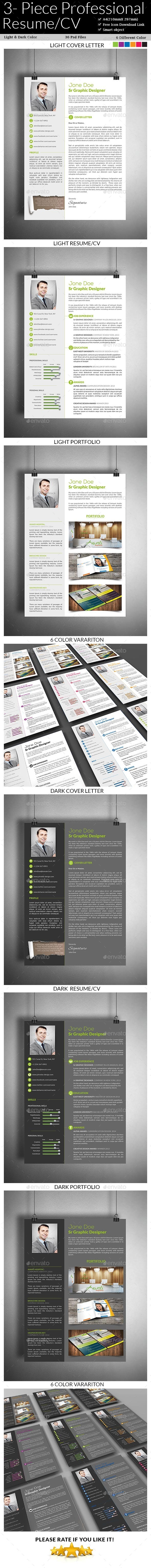GraphicRiver 3- Piece Professional Resume CV 8795765