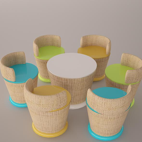 3DOcean Tutti Frutti chair and table set 8759109