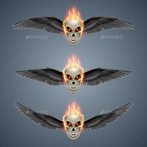 GraphicRiver Flaming Mutant Skulls 8795994