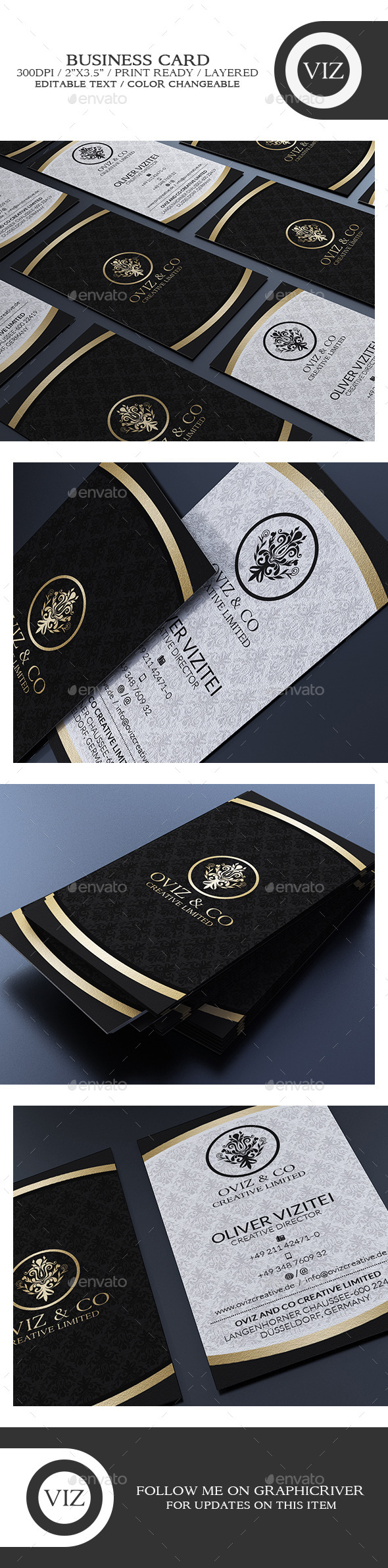 GraphicRiver Classy Black And White Business Card 8796211