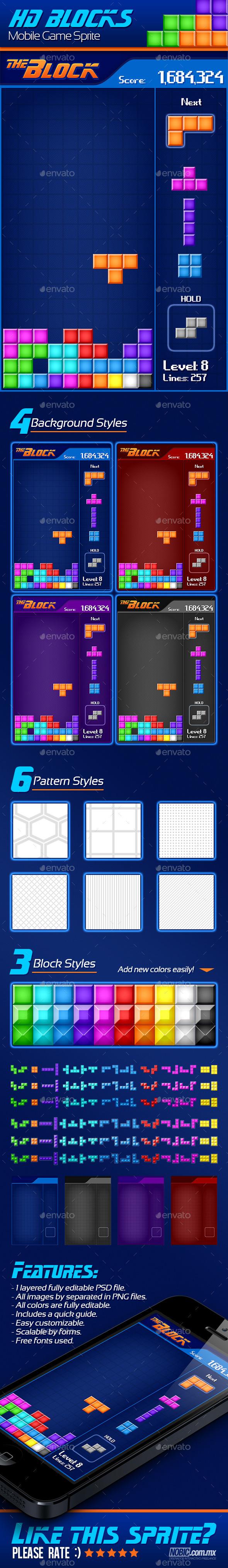 GraphicRiver Tetris Mobile Game Sprite 8753729